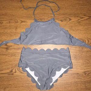 Other - Grey scalloped halter bikini